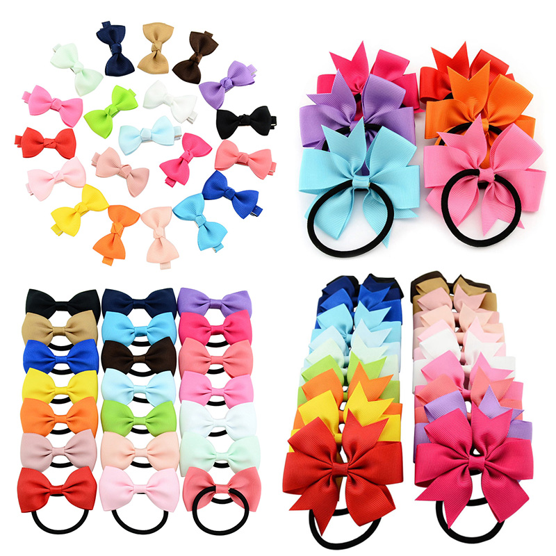 10pcs/lot Kids Hair Accessories Bowknot Elastic Hair Bands Colorful Scrunchies Fashion Headbands Girls Ponytail Holder