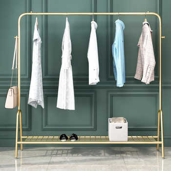 INS Style Double Pole Clothes Rack Floor Coat Rack Bedroom Drying Rack Simple Clothes Rail Moveable Indoor Clothing Rack Hanger - DISCOUNT ITEM  34 OFF Furniture