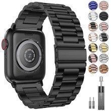 Браслет из нержавеющей стали для apple watch band 44 мм Iwatch series 5 4 3 2 1 Аксессуары 38 мм 40 мм 42 мм ремень ПЕТЛЯ браслет ремешок