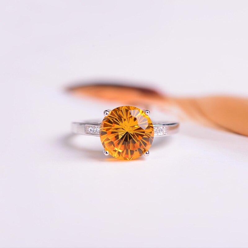 Haute qualité naturel jaune/bleu/violet cristal anneaux pour les femmes 925 bague en argent Sterling anneaux de mariage réglable bijoux fins