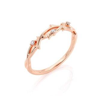 GUYINKU 14k 585 Rose Gold 1ct 6.5mm EF Color Moissanite Trendy Engagement Ring Set for Women Wedding Gift 1