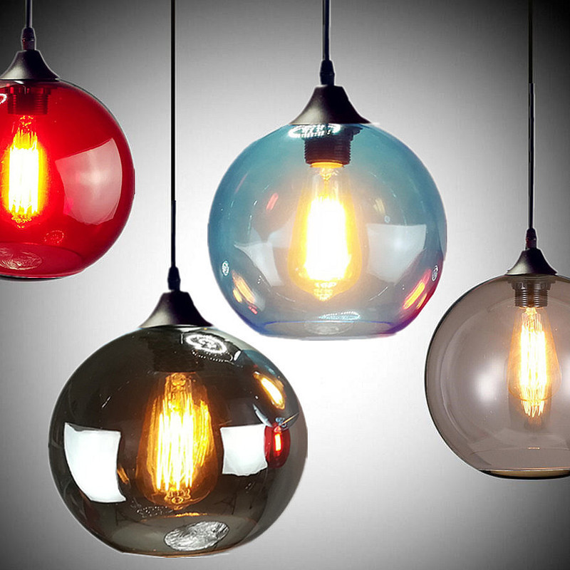 Nordic Modern Hanging Loft 7 Color Glass Lustre Pendant Lamp Industrial Decor Lights Fixtures E27/e26 For Kitchen Restaurant E2