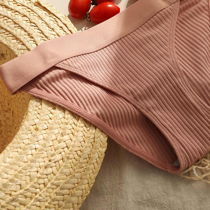 3PCS แฟชั่นกางเกงผ้าฝ้ายเซ็กซี่กางเกงในสตรีไม่มีรอยต่อกางเกงบิกินี่ Thongs ชุดชั้นในสตรี Low-RISE ชุดชั้นใน SOLID