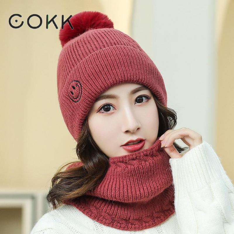 COKK Knitted Hat With Scarf Two Sets Winter Hats For Women Girls With Pompom Hat And Scarf Collars Set Thick Keep Warm Windproof