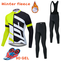 Team SPECIALIZEDING Cycling Jersey 9D Bib Set MTB Uniform Bike Clothing Mens Winter Thermal Fleece Bicycle Clothes Cycling Wear