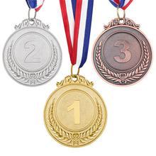 3 шт. металлические наградные медали с лентой для шеи золотого, серебряного, бронзового цвета, Олимпийский Стиль для спортивных учёных или любых соревнований, рисунок пшеницы