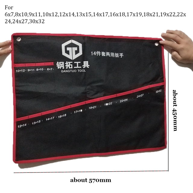 Practical Canvas Wrench Tool Bag Storage Roll Up Foldable Spanner Organizer Pouch Case Hand Tools Bags 10/12/14/16/22 Pcs