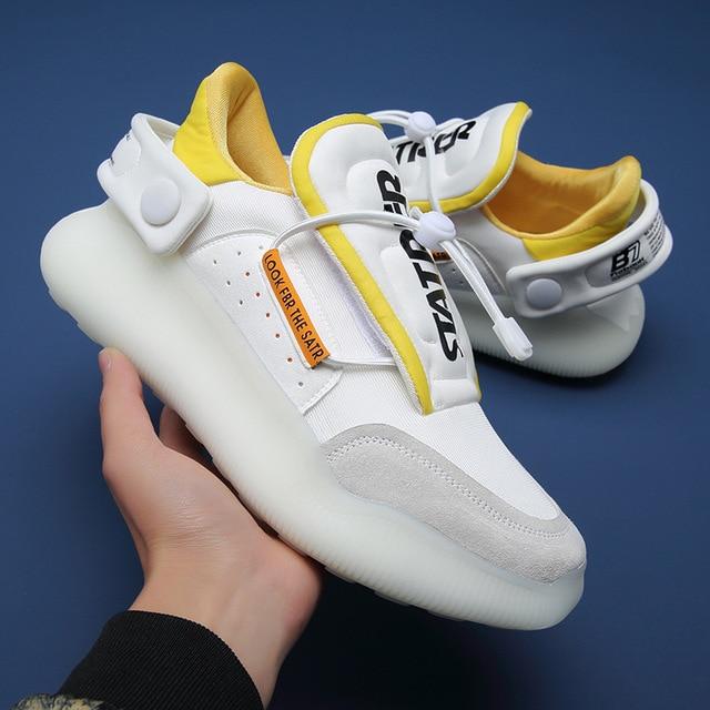 Zapatillas de deporte informales antideslizantes para hombre, calzado de Tenis con plataforma de cuero de malla transpirable, novedad de verano de 2021 3