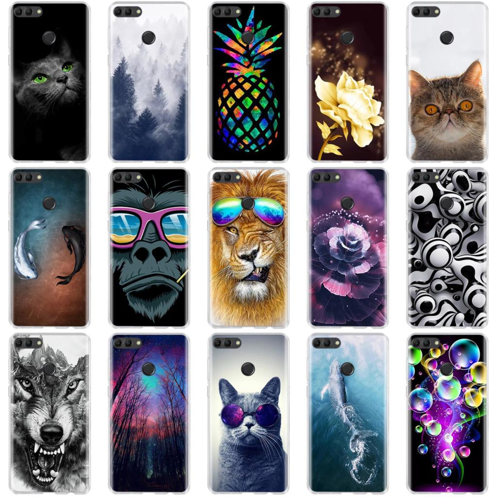 For <font><b>Huawei</b></font> Y9 <font><b>2018</b></font> <font><b>Case</b></font> Painted Protective Silicone 3D Cat Cover For <font><b>Huawei</b></font> Enjoy 8 Plus <font><b>Case</b></font> For <font><b>Huawei</b></font> <font><b>Y</b></font> <font><b>9</b></font> Y9 <font><b>2018</b></font> Phone <font><b>Cases</b></font> image