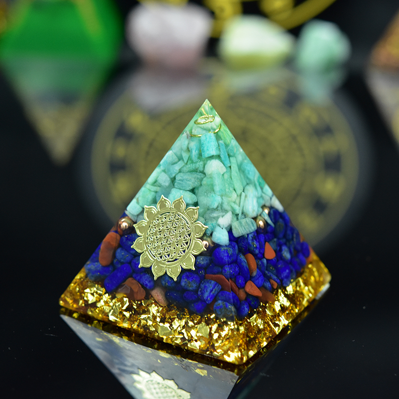 Natural Reiki Crystal Orgonite Energy Generator Amazonite Orgone Pyramid For EMF Protection Original Resin Decorative Craft