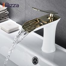 Becken Wasserhahn Schwarz Wasserfall Bad Armaturen Heiß Kalt Wasser Becken Mischbatterie Chrome Messing Wc, Waschbecken Wasserhähne Kran Gold 1401