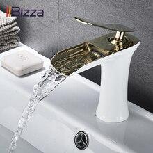 Havza musluk siyah şelale banyo muslukları sıcak soğuk su batarya dokunun krom pirinç tuvalet lavabo su muslukları vinç altın 1401