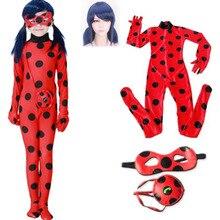 Halloween Girls disguise Ladybug Clothing Sets Costumes Lady Bug Child Elastic Birthday Cosplay Jumpsuits Anime