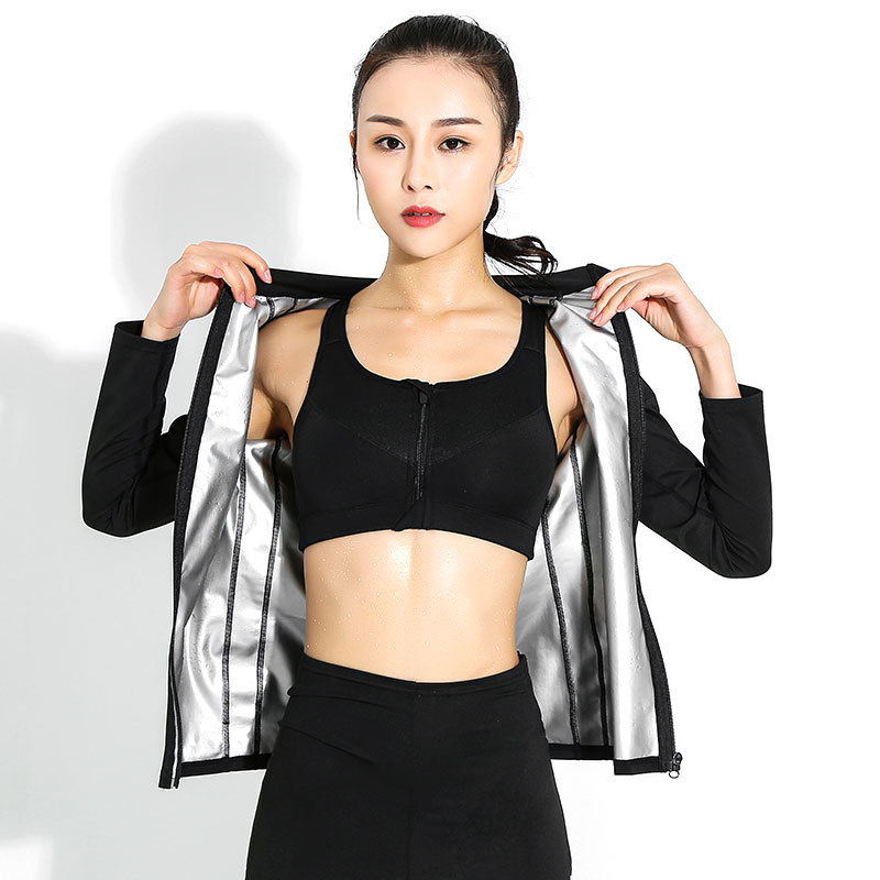 Women Running Sets Female Sauna Suit Set Girl Burn Belly Fat Compression Suit Slimming Body Shaper Pants And Long Sleeve Jackets