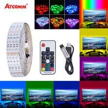 Bande lumineuse Flexible à 60LED SMD 2835, 1/2/3/4/5M, USB, idéale pour la maison, le bureau, la télévision, rétro-éclairage, télécommande IR, 5V
