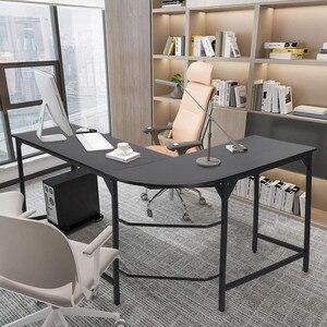 L-образный стол, современный угловой компьютерный стол, домашний офисный стол для домашнего офиса, деревянный верх и металлическая рамка (...
