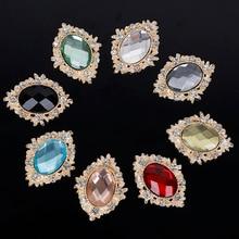 Charming Hair-Accessories Decoration Rhinestone-Button Oval Acrylic Beautiful 100pcs