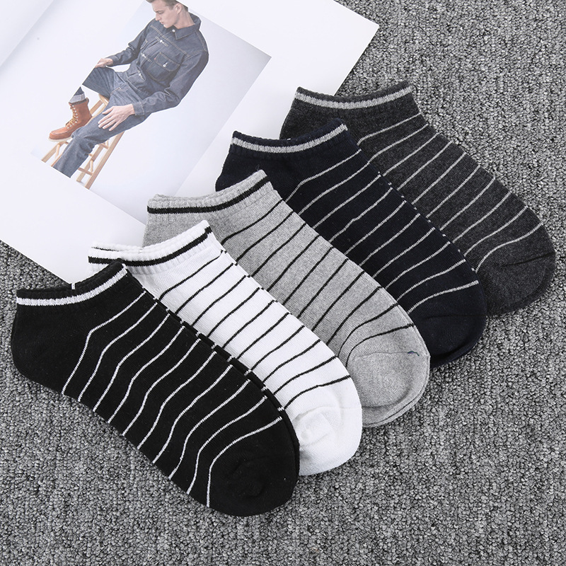 Manufacturers creative stripes low to help socks boat autumn mens casual invisible