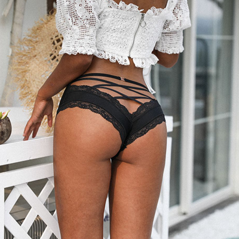 SP&CITY Back Crossing Bandage Hollow Out Sexy Panties Lace Edge Seamless Underwear Women Transparent Lingerie Solid Briefs Thong