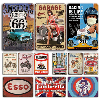Racing Is Life Tin Sign Vintage Garage Poster Metal Plate Decorative Plaque Shabby Chic Car Stickers Man Cave Room Decoration