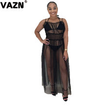 VAZN GTH13265 chic 2019 summer sexy lady black long 3-piece set bikini sets and spaghetti strap dress set lady grenadine new set(China)