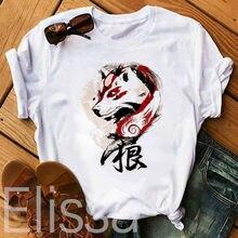 T-shirt manches courtes femme blanc, estival et décontracté, à la mode, avec dessin animé imprimé, princesse Mononoke, Harajuku
