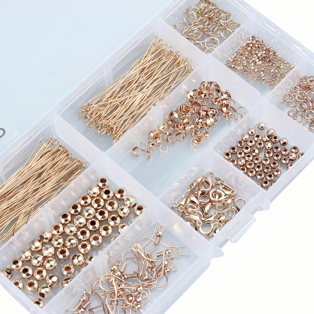 DIY Jewelry Findings Accessories Kit Box Set Ear Hook Crimp End Cap Jump Rings Lobster Clasp Pins Tools For Jewelry Making