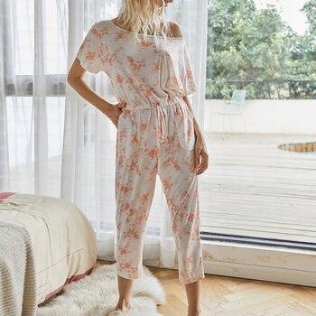 цена на Liva girl Women Shoulder Jumpsuits Rompers Summer Casual Print Pocket Overalls Jumpsuit Short Sleeve Wide Leg Loose Jumpsuit