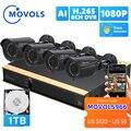 Система видеонаблюдения Movols с ии, 8 каналов, 4 уличных всепогодных камеры 2 Мп, комплект видеорегистратора, домашняя система видеонаблюдения ...