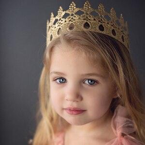 Ins miękka korona akcesoria do włosów duża korona księżniczka korona dziecko dziewczynka chłopiec książę stroik pasmo włosów dziecięce akcesoria do włosów