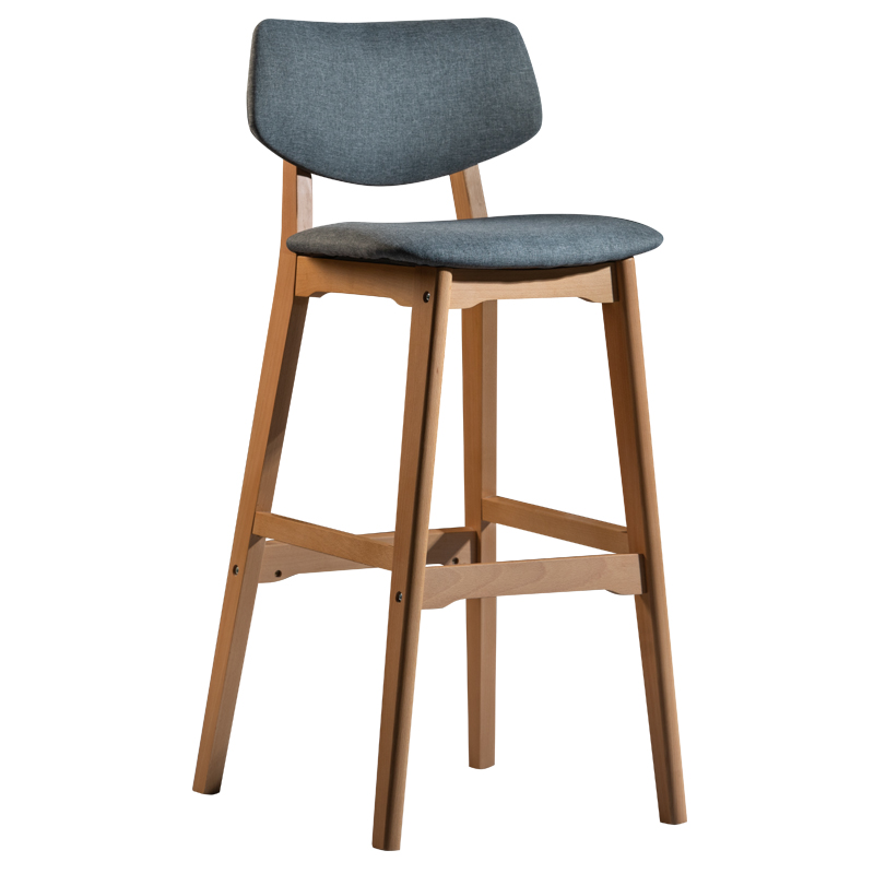 Solid Wood Bar Stool Home Modern Minimalist High Chair Stool Guide Restaurant Nordic Back Bar Chair