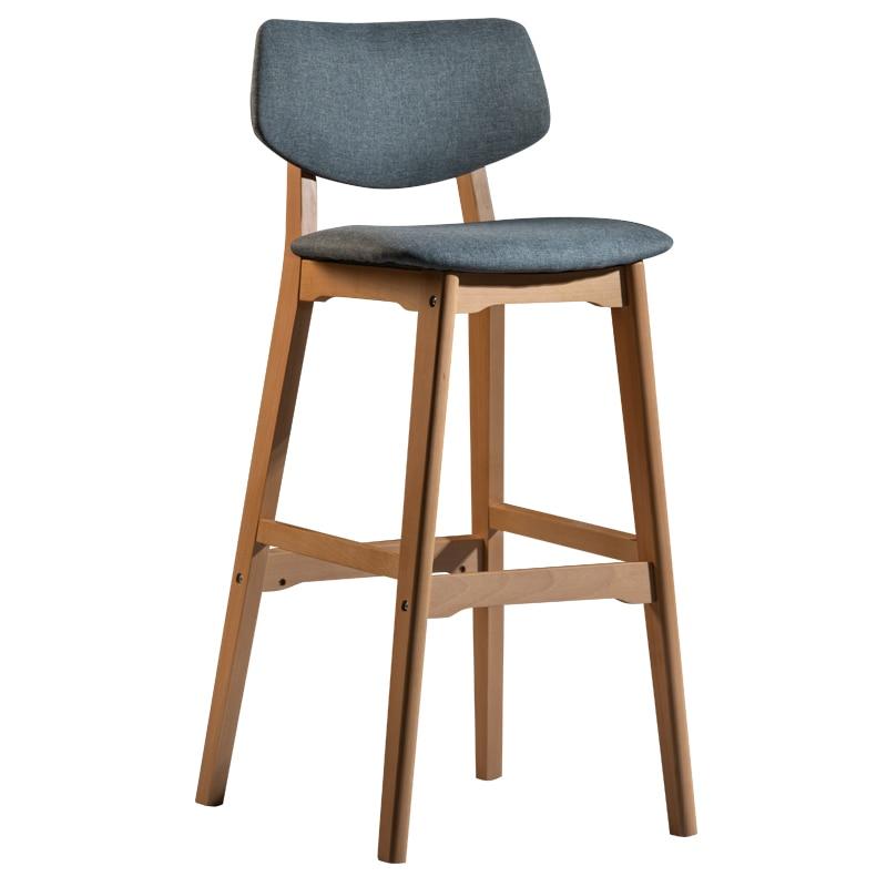 Solid Wood Bar Stool Home Modern Minimalist High Chair Stool Guide Restaurant Nordic Back Bar Chair