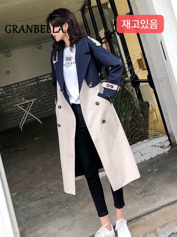 HOT 2019 Spring Autumn Women New Stylish Patchwork Coat   Trench   large size Mid-length over-the-knee loose windbreaker with belt