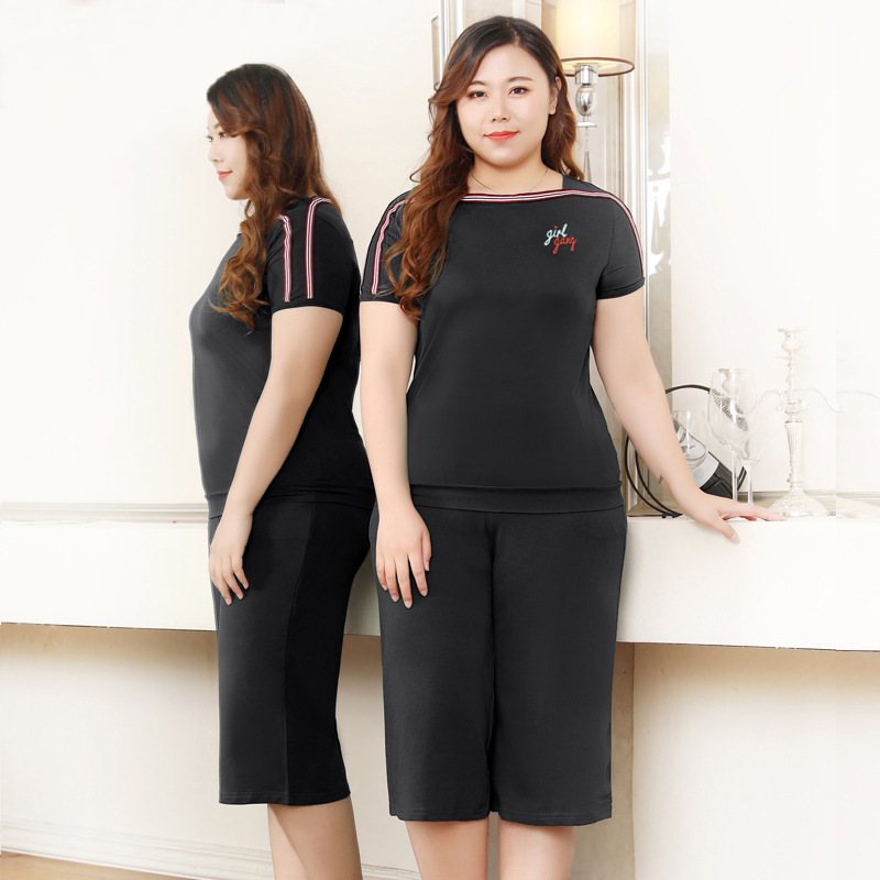 Casual WOMEN'S Suit 2019 Summer Wear New Style Loose And Plus-sized Sports Clothing Fat Mm200 Pounds By Age Short Sleeve Two-Pie
