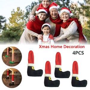4 шт., рождественские носки для ног на стол, предотвращают соскабливание, украшения для дома, подарок