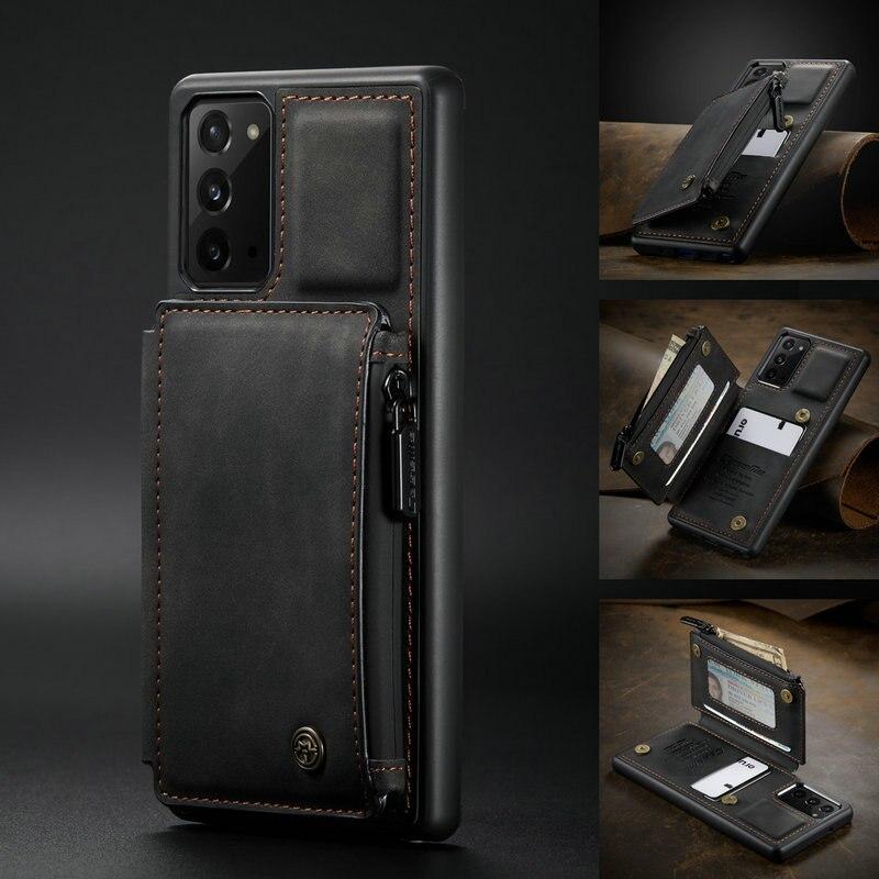 Чехол-накладка CaseMe для Samaung Note10 20 S10, кожаный бумажник на молнии с отделением для карт для Galaxy A51, A71, S21 Ultra, S20, S10Plus, чехол с подставкой