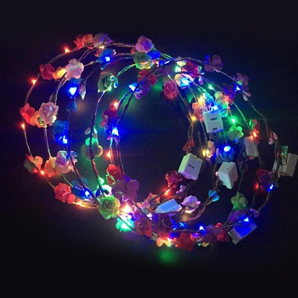1 шт. свадебный головной убор с цветком, красочный светильник, светящиеся игрушки, игрушечные венки, светящийся венок, повязка на голову, веч...