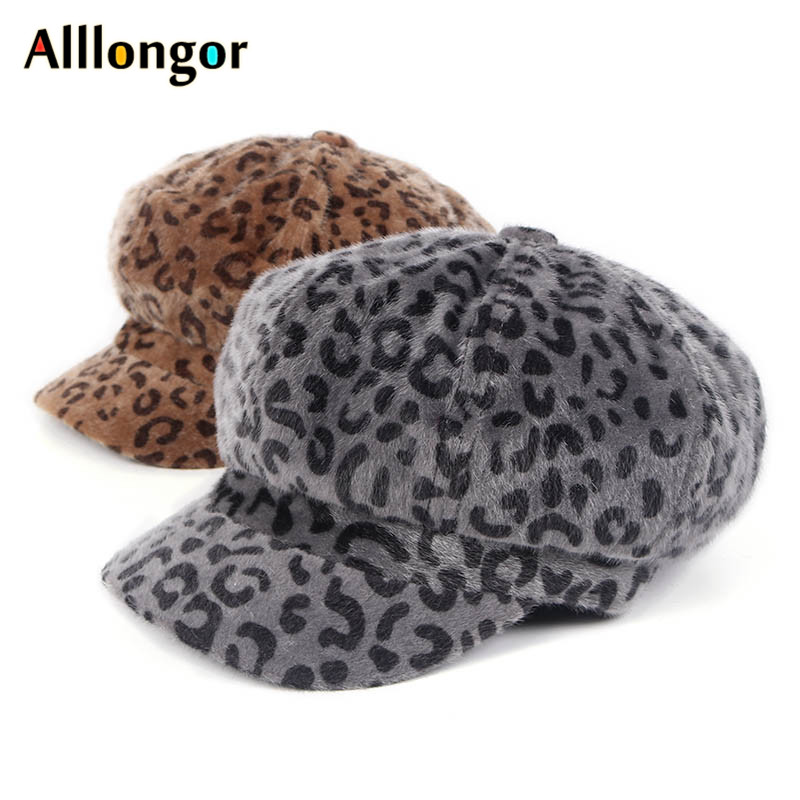 Autumn 2019 Winter Leopard Print Beret Hat Fashion Korea Beret Femme Chapeau Painter Hats Octagonal Newsboy Cap