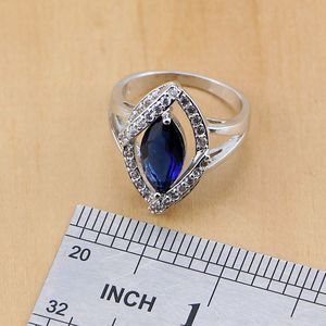 Image 5 - Rhombic Blue Crystal Jewelry White CZ 925 Sterling Silver Jewelry Sets Women Earrings/Pendant/Necklace/Ring/Bracelet