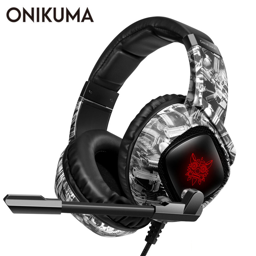ONIKUMA PS4 Gaming Headset with Mic casque Camo PC Stereo <font><b>Headphones</b></font> LED Light for Xbox One/Laptop Tablet/Phone image