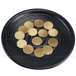 20-1000 Pcs Brass Circle Pendant for Earrings Necklace Making Double Sides Texture Fashion Metal Finding Lots Wholesale (21mm)