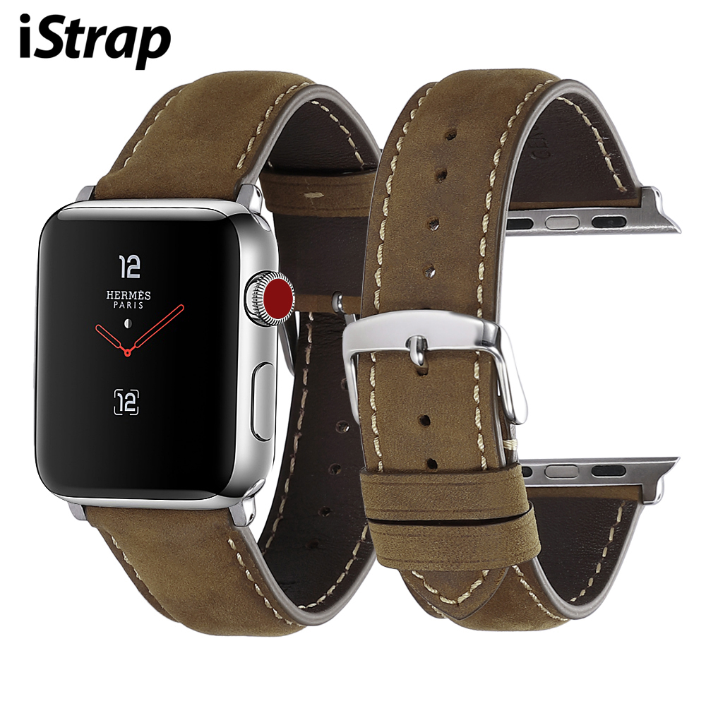 iStrap for Apple Watch Band Leather Strap iWatch Accessories Series 1/2/3/4 Watch Band 38mm 40mm 42mm 44mm