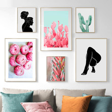 Pink Green Cactus Flower Figure Painting Nordic Posters And Prints Wall Art Canvas Pictures For Living Room Decor