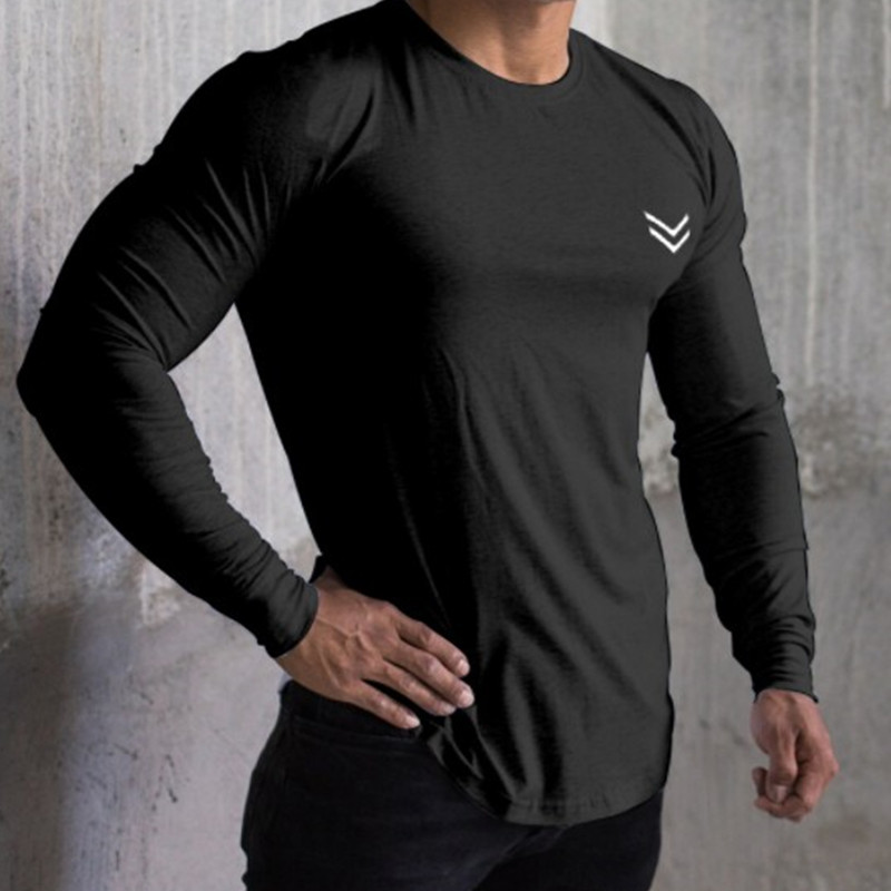 New Men Long Sleeve T-shirts Gyms Fitness Workout Quick Dry Tees T Shirt Male Tight Elasticity Tops Sports Casual Brand Clothing