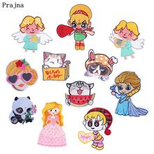 Prajna Cartoon Girl Patches Embroidered For Clothing Iron On Cute Patch DIY Stripes Clothes T-shirt Kids Accessories