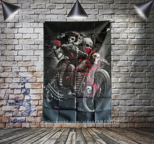 Skull Tattoo Motorcycle Biker Roses Flag Banner Sexy lady Beauty Art Home Decoration Hanging 4 Gromments in Corners 3*5FT