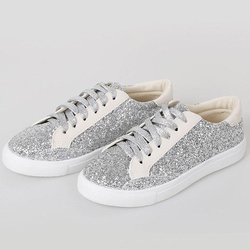 New Srystal Women Vulcanized Shoes Rhinestone Bright Female Sneakers Lace Up Zapatos Mujer Platform Woman Shoes Walking Footwear
