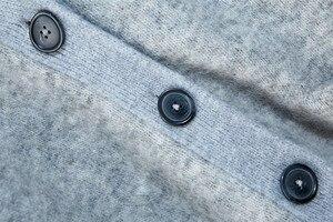 Image 3 - Женский трикотажный кардиган из смеси мохера и шерсти, свободный свитер на пуговицах с V образным вырезом, Осень зима 2019