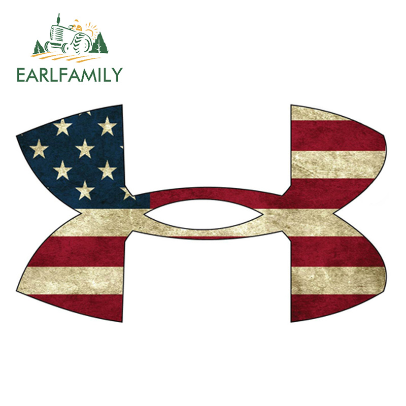EARLFAMILY 13cm X 7.6cm Under Armour American Flag Medium Vinyl Sticker Car Styling Waterproof Decal Motor Car Accessories