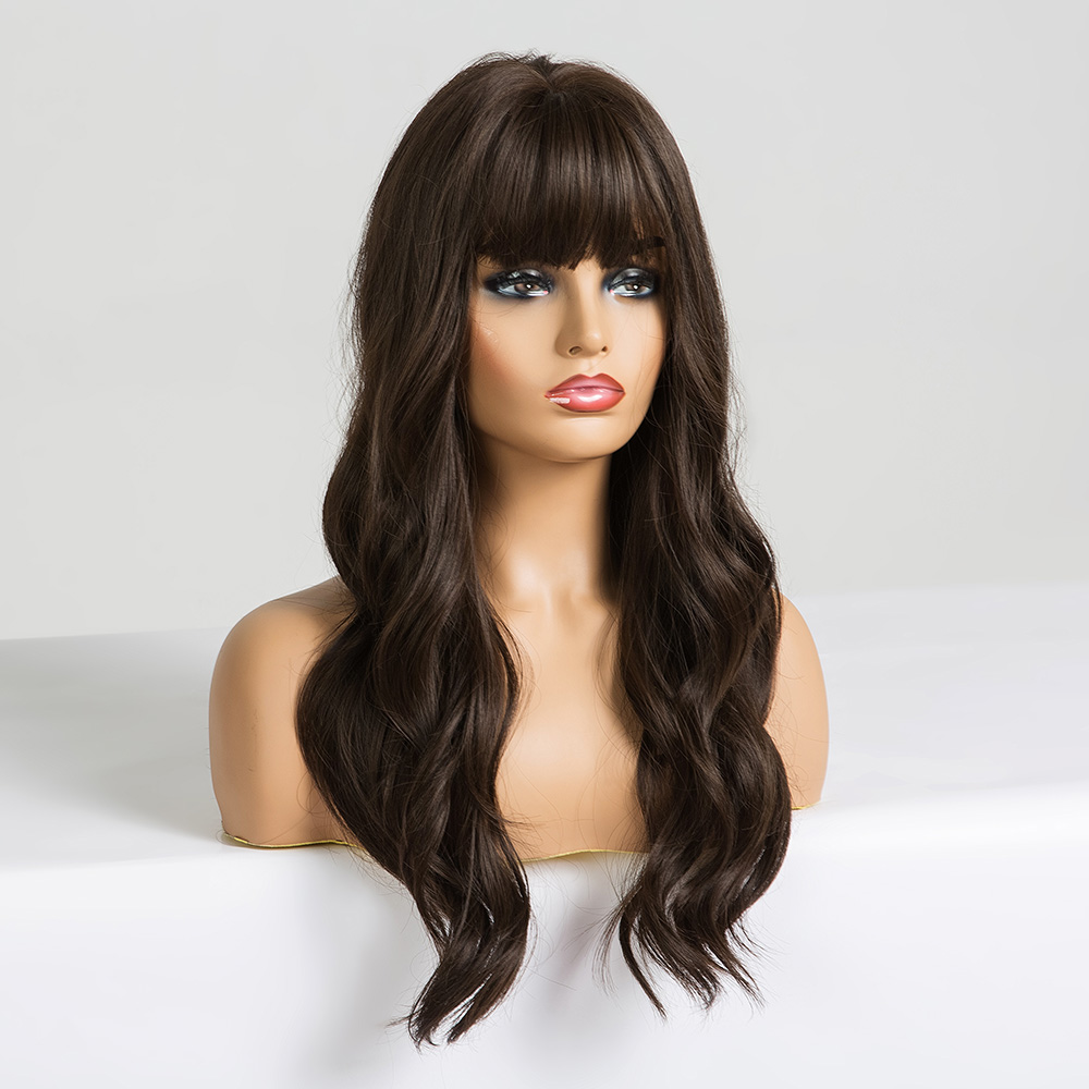 ALAN EATON Long Wave Wigs with Bangs Black Brown Wigs for Women Cosplay Daily False Hair Heat Resistant Fiber Synthetic Wigs